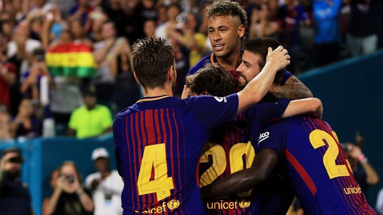 Neymar, celebrando un gol con el Barça en una imagen de archivo