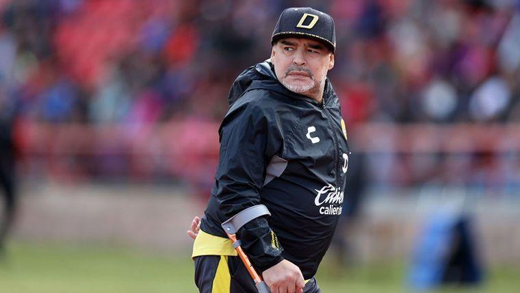 Diego Armando Maradona, durante el último partido de Dorados