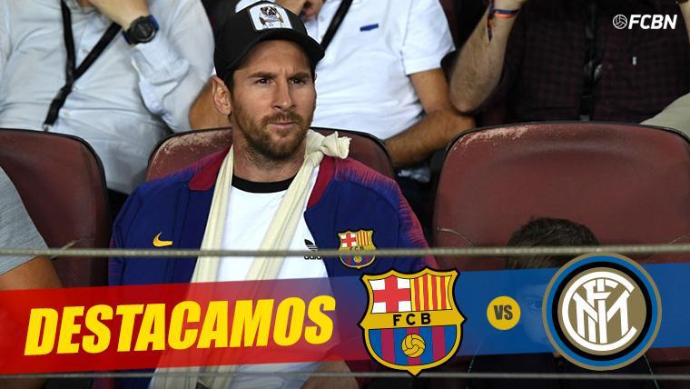 Leo Messi, en cabestrillo en el Camp Nou presenciando el Barça-Inter