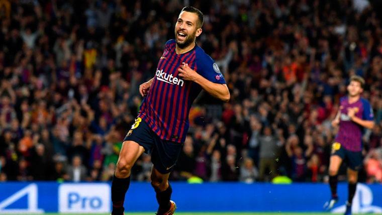 Jordi Alba celebra un gol con el FC Barcelona