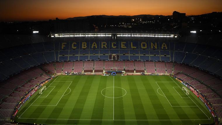 El Camp Nou, antes del partido de Champions League contra el Inter de Milán