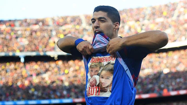 Luis Suárez, dedicando uno de los goles a su hijo Lautaro