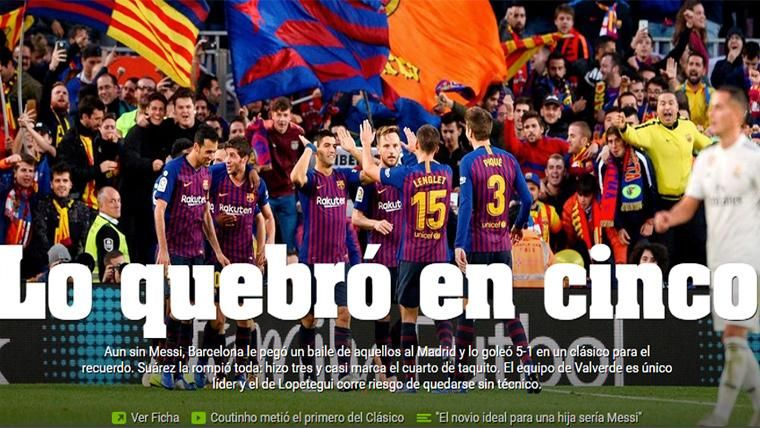 La prensa mundial alucina con la 'manita' del Barça en el Clásico