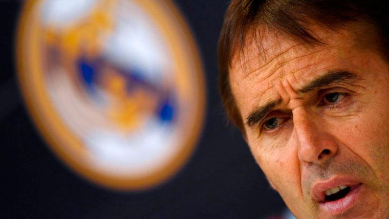 Julen Lopetegui en una rueda de prensa del Real Madrid
