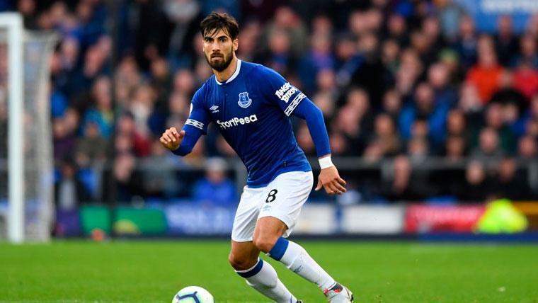 André Gomes en un partido con el Everton