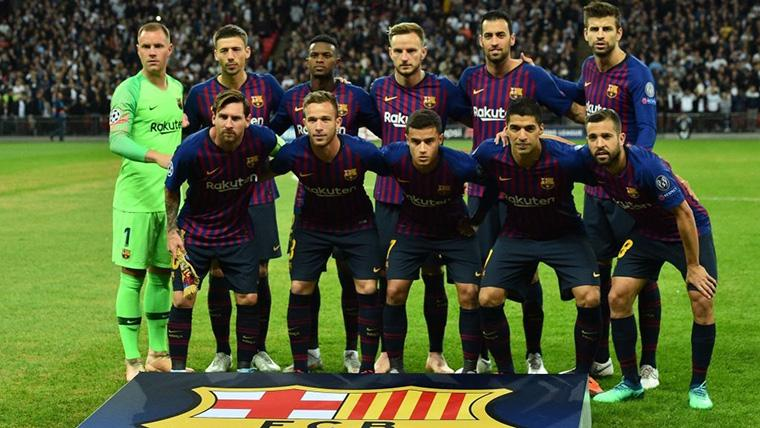 Alineación titular del FC Barcelona en un partido de Champions League