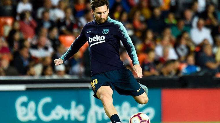 Leo Messi, durante un calentamiento con el FC Barcelona