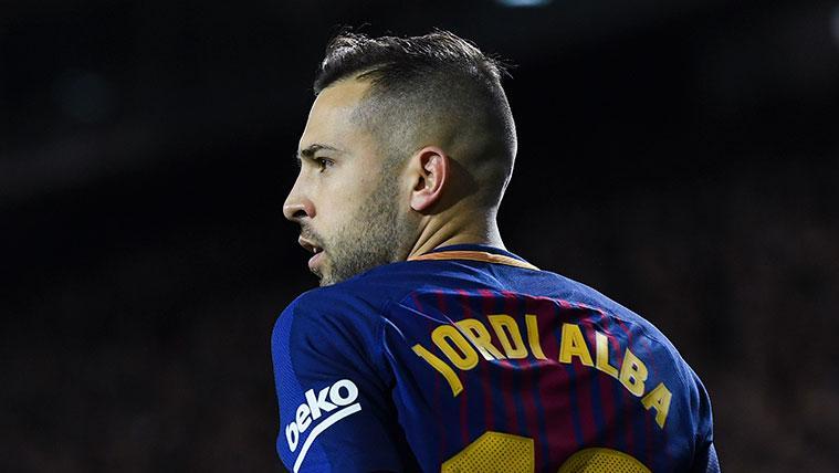 Jordi Alba en un partido del FC Barcelona