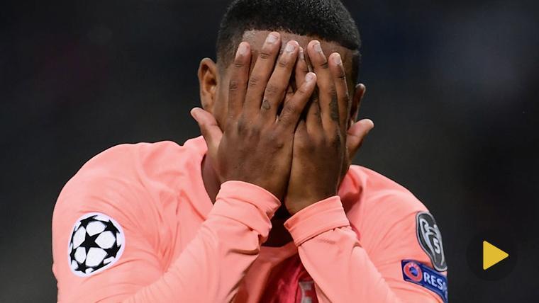 Malcom, llevándose las manos a la cara tras marcar contra el Inter