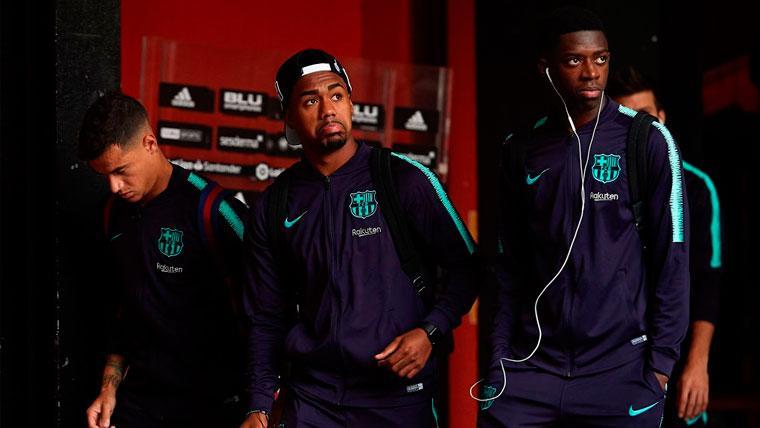 Philippe Coutinho, Malcom y Ousmane Dembélé en un viaje del FC Barcelona