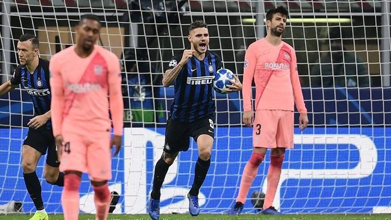 Mauro Icardi, celebrando un gol marcado contra el FC Barcelona