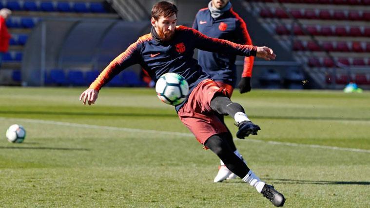 Leo Messi en un entrenamiento con el FC Barcelona