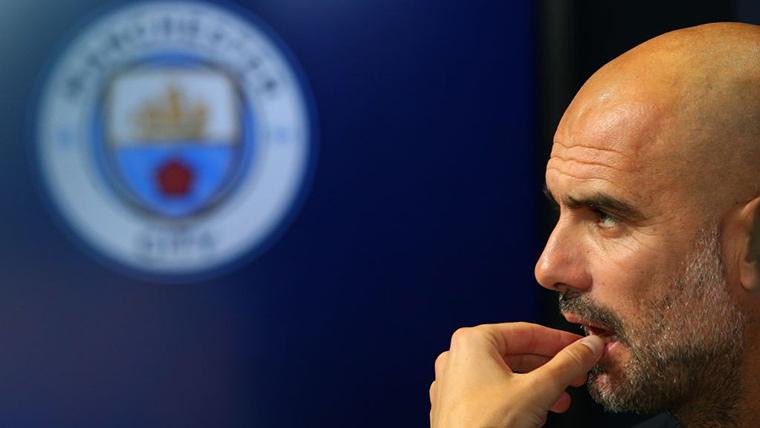 Pep Guardiola, durante una rueda de prensa con el Manchester City