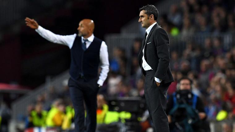Ernesto Valverde, durante un Inter-Barcelona de Champions League