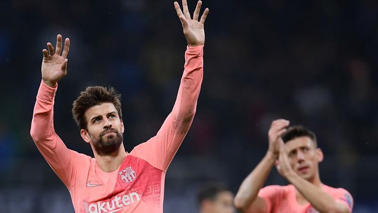 Gerard Piqué y Clément Lenglet, celebrando el buen resultado del Barça