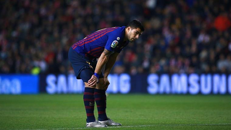 Luis Suárez, tras una jugada durante un partido con el FC Barcelona