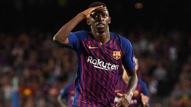 Ousmane Dembélé, celebrando una diana marcada con el FC Barcelona