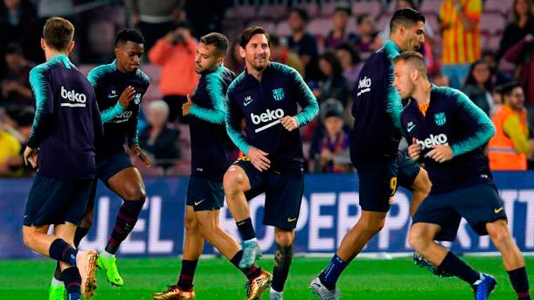 El FC Barcelona, calentando antes de un partido de LaLiga Santander