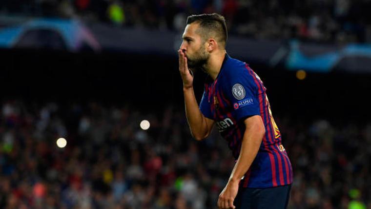 Jordi Alba, celebrando un gol marcado con el Barcelona