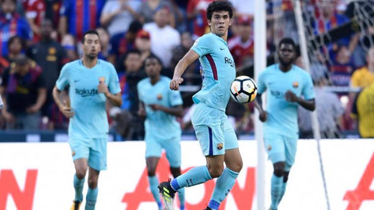 Carles Aleñá, durante un partido con el FC Barcelona