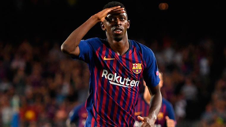 Ousmane Dembélé, celebrando un gol marcado con el FC Barcelona