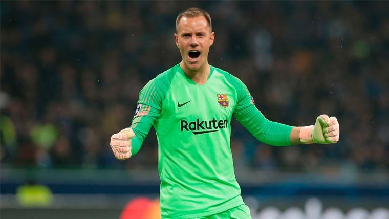 Marc-André ter Stegen celebra un gol del FC Barcelona