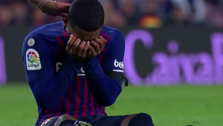 Malcom, llorando sobre el césped del Camp Nou tras lesionarse