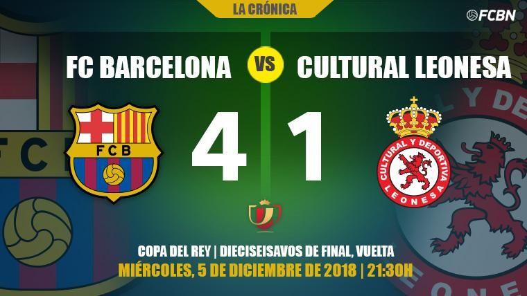 El Barça doma a la Cultural Leonesa y se planta en octavos de la Copa del Rey (4-1)