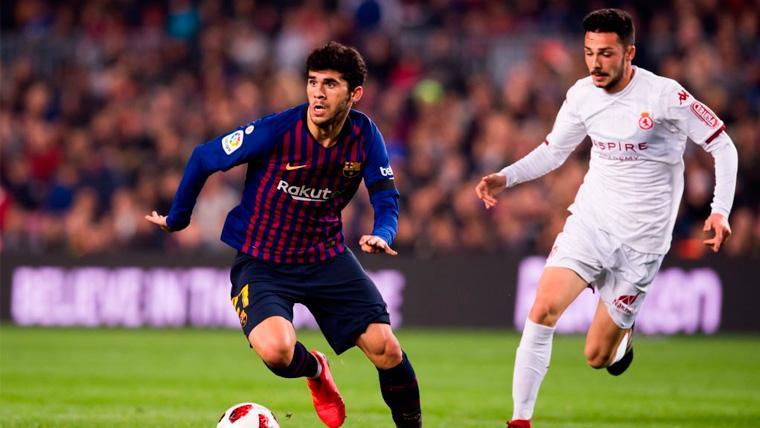 Carles Aleñá en un partido del FC Barcelona