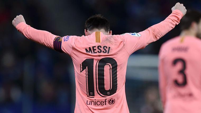 Leo Messi, celebrando uno de sus golazos contra el Espanyol