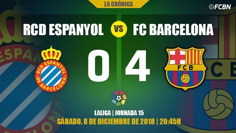 Leo Messi se exhibe en el derbi y un Barça más líder se come al Espanyol (0-4)
