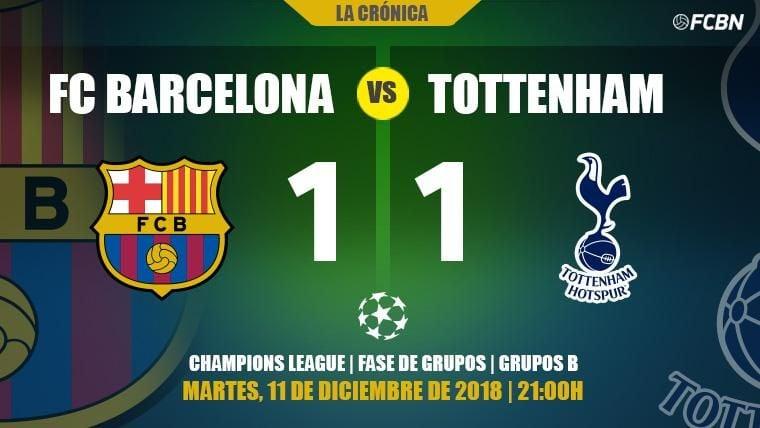 El Tottenham salva su Champions contra un Barça que se gustó con rotaciones (1-1)