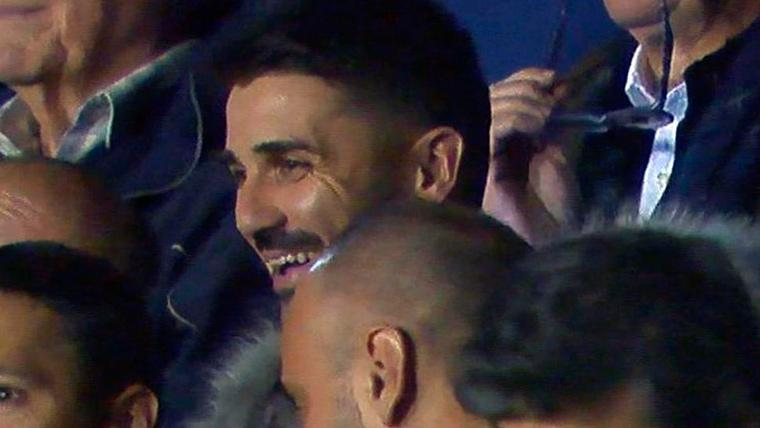 David Villa presenció el 'show' de Leo Messi ante el Levante