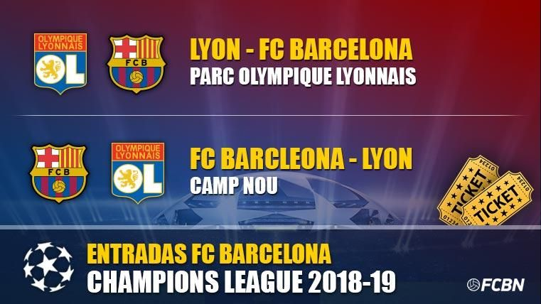 Entradas FC Barcelona vs Lyon - Champions League 2018-2019