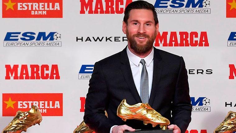La reacción de Leo Messi tras recibir su quinta Bota de Oro