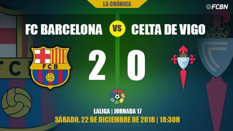 El Barcelona cierra 2018 sin brillantez pero líder en la Liga tras ganar al Celta (2-0)