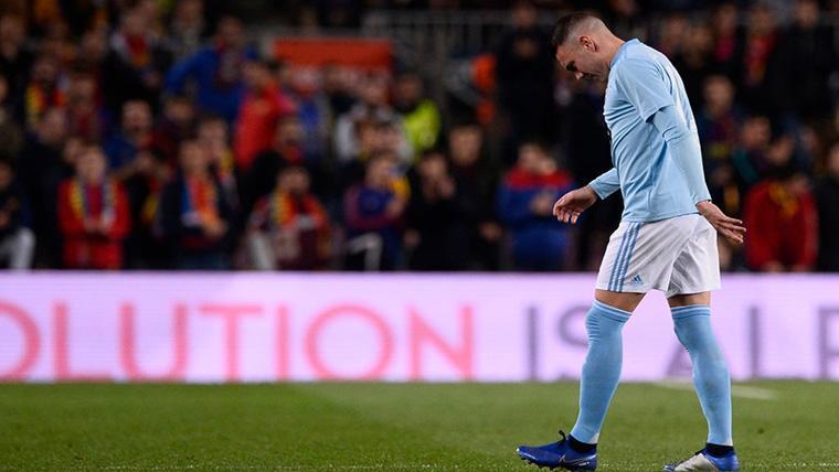 Tremenda ovación del Camp Nou a Iago Aspas tras su lesión