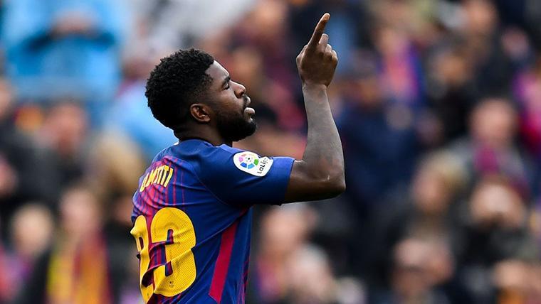 Samuel Umtiti, celebrando un gol marcado con el Barcelona