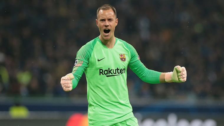 Marc-André Ter Stegen, celebrando un gol del FC Barcelona