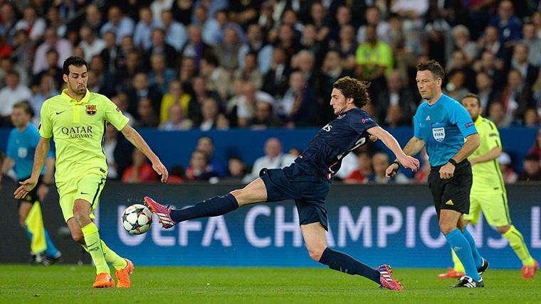 Adrien Rabiot, durante un partido contra el FC Barcelona en Champions League