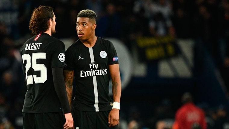Adrien Rabiot y Presnel Kimpembe en un partido del PSG