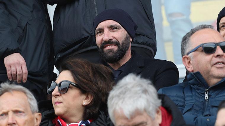Monchi en un partido de la Roma en la Serie A