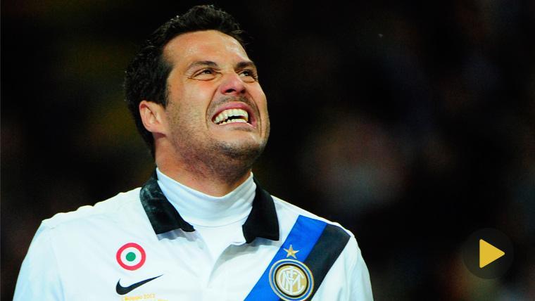 Júlio César en un partido con el Inter de Milán