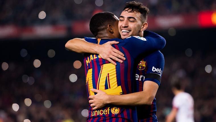 Munir El Haddadi, celebrando un gol marcado con el FC Barcelona
