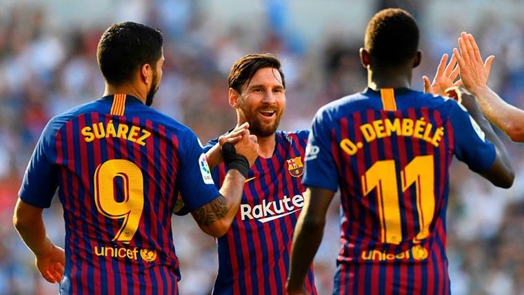 El tridente Messi-Dembélé-Suárez, casi como la 'MSN' esta temporada en el Barça