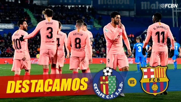 El FC Barcelona, celebrando un gol contra el Getafe en Liga
