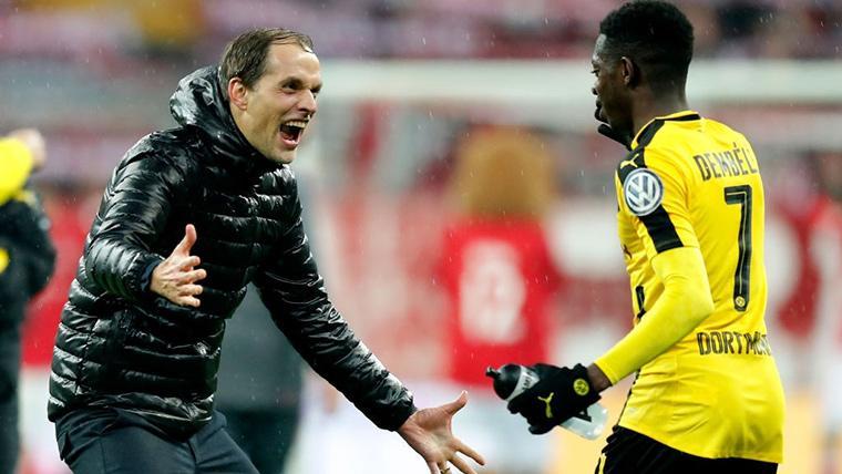 Thomas Tuchel y Ousmane Dembélé, celebrando un gol con el Dortmund