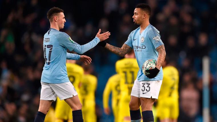 Phil Foden y Gabriel Jesus celebran una victoria del Manchester City