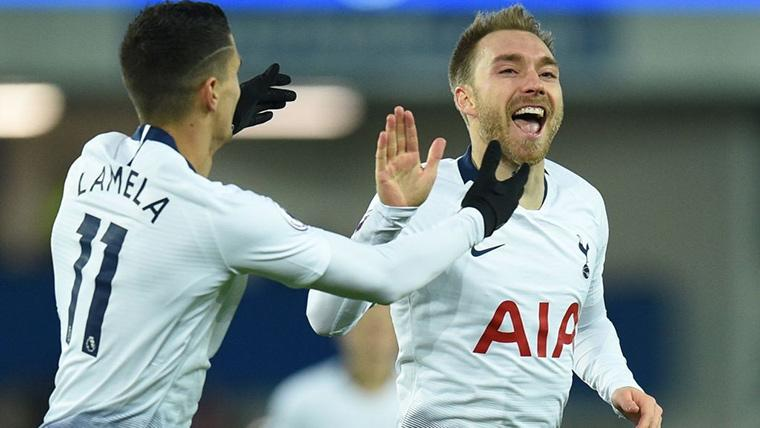 Christian Eriksen, celebrando un gol marcado con el Tottenham