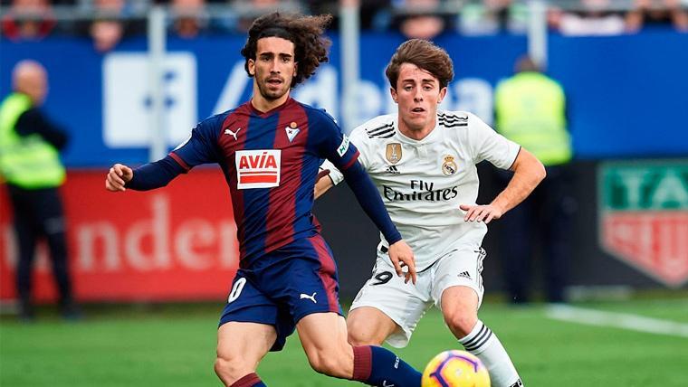 Marc Cucurella en un partido con el Eibar